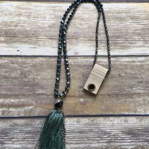 Anthropologie Bead and Stone Tassel Necklace NWT